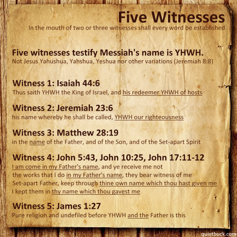 YHWH - Five Witnesses